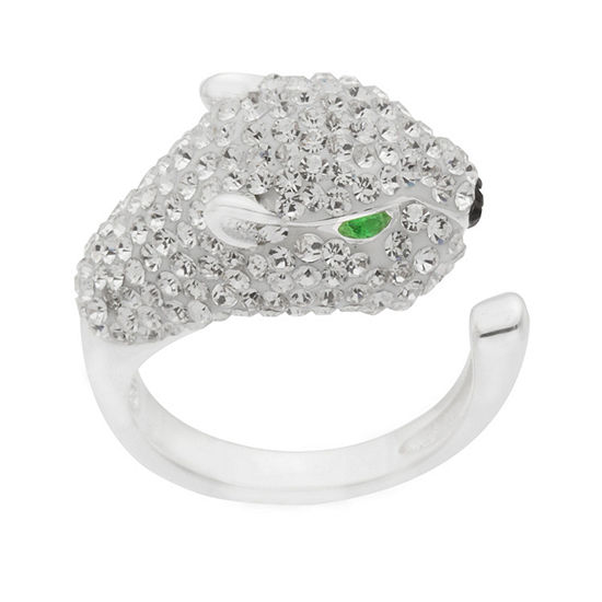 Sparkle Allure Womens Multi Color Crystal Pure Silver Over Brass Cocktail Ring