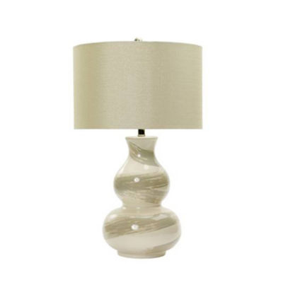 """M.r. Lamp & Shade's# MR8930 28"""" Swirl Ceramic Table Lamp in White with Transparent Grey Brushstrokes"""