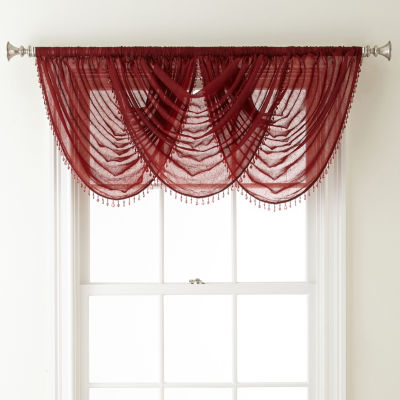 Home Expressions Crushed Voile Rod-Pocket Waterfall Valance