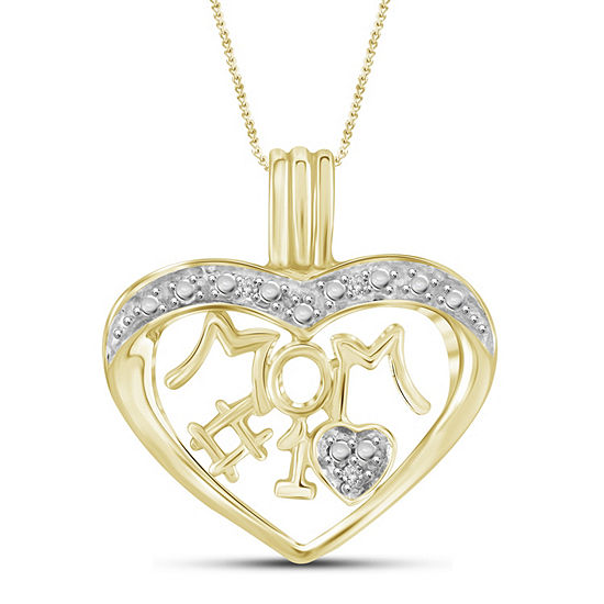 """#1 Mom"" Womens Diamond Accent White Diamond 14K Gold Over Brass Round Pendant Necklace"