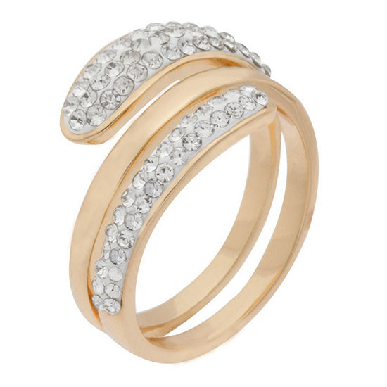 Sparkle Allure Womens Crystal 14K Gold Over Brass Cocktail Ring