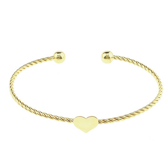 Sechic 14K Gold Heart Bangle Bracelet