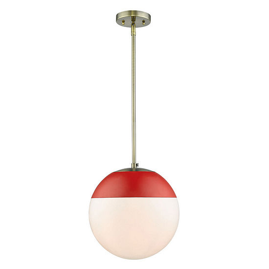 Golden Lighting Dixon Pendant In Aged Brass With Opal Glass
