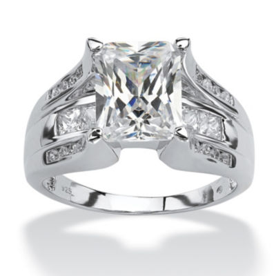 Diamonart Womens 4 3/4 CT. T.W. White Cubic Zirconia Platinum Over Silver Rectangular Engagement Ring