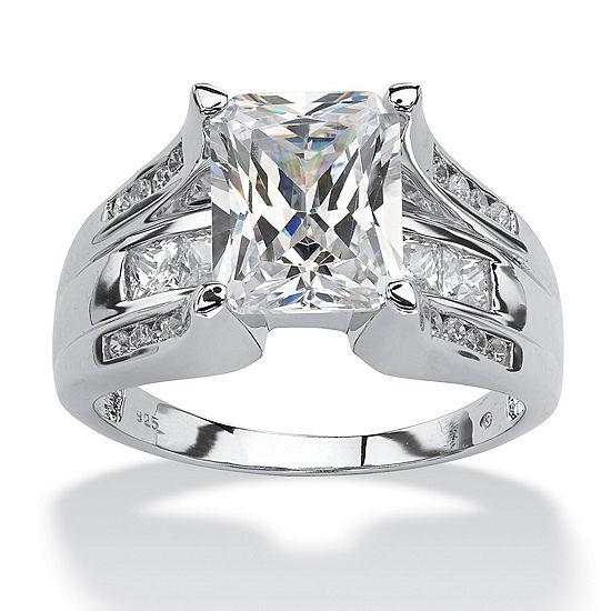 DiamonArt® Womens 4 3/4 CT. T.W. White Cubic Zirconia Platinum Over Silver Rectangular Engagement Ring