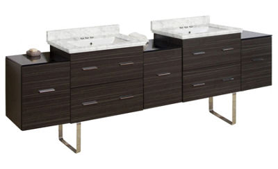 88.5-in. W Floor Mount Dawn Grey Vanity Set For 3H4-in. Drilling Bianca Carara Top White UM Sink