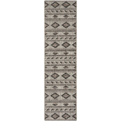 Safavieh Courtyard Collection Luana Geometric Indoor/Outdoor Runner Rug