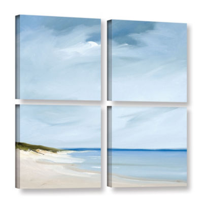 Brushstone Blue Gallery 4-pc Square Set Wrapped Canvas