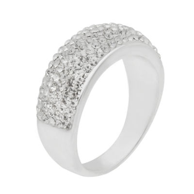 Sparkle Allure Sparkle Allure Plated Crystal Cocktail Ring Womens Lab Created Pure Silver Over Brass Cocktail Ring
