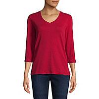 St. Johns Bay-Womens V Neck Short Sleeve T-Shirt