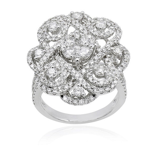 LIMITED QUANTITIES! Womens 1 1/2 CT. T.W. White Diamond 14K White Gold Cocktail Ring