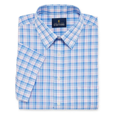 Stafford Travel Easy Care Broadcloth Short Sleeve Short Sleeve Broadcloth Plaid Dress Shirt- Big And Tall