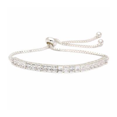 Sparkle Allure Cz 5 1/4 CT. T.W. Lab Created Clear Silver Tone Brass Bolo Bracelet