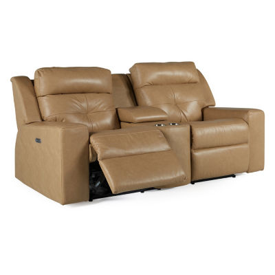 Motion Possibilities Quick Ship Grove Vintage Track Arm Power Recline Console Loveseat