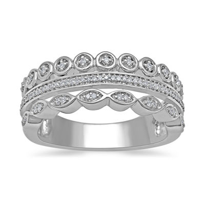 Womens 1/7 CT. T.W. Genuines White Diamond Sterling Silver Cocktail Ring