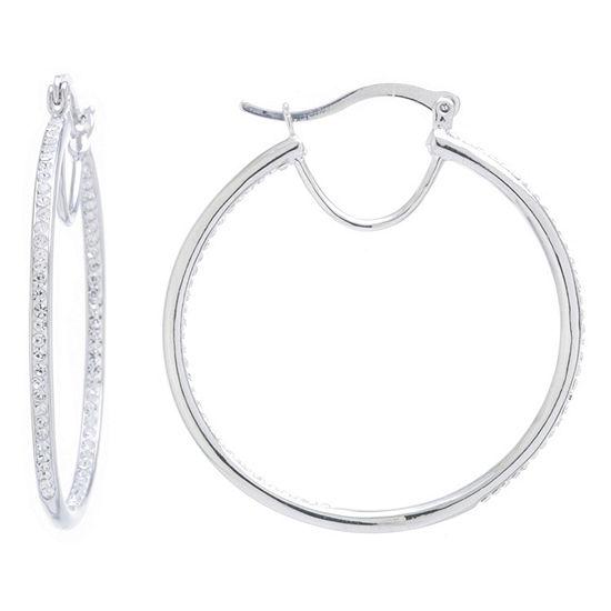 Silver Treasures Pure Silver Over Brass 40mm Hoop Earrings