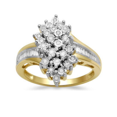 Womens 1/4 CT. T.W. Genuine White Diamond Gold Over Silver Cocktail Ring
