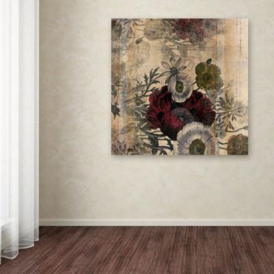 Trademark Fine Art Marcee Duggar Floral Collage Burgundy Bloom Giclee Canvas Art