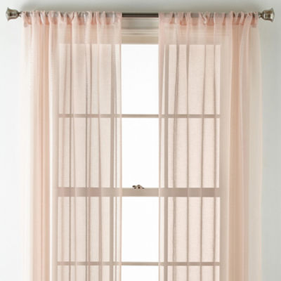 Home Expressions Casual Stripe Sheer 2-Pack Rod-Pocket Curtain Panel