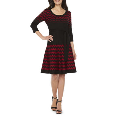 Danny & Nicole 3/4 Sleeve Chevron Fit & Flare Dress-Petite