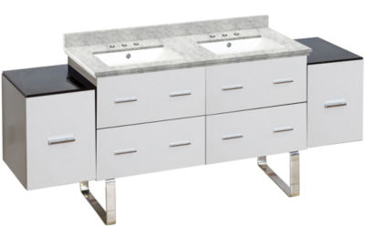 74-in. W Floor Mount White Vanity Set For 3H8-in.Drilling Bianca Carara Top White UM Sink