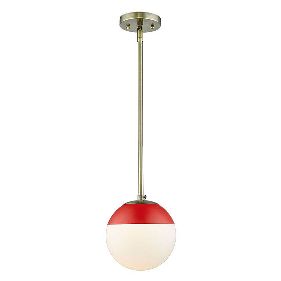 Golden Lighting Dixon Mini Pendant In Aged Brass With Opal Glass