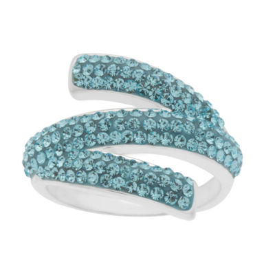 Sparkle Allure Womens Lab Created Blue Pure Silver Over Brass Cocktail Ring