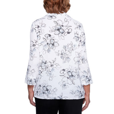Alfred Dunner Barcelona 3/4 Sleeve Two for One Gauze Blouse