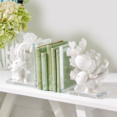 Two's Company White Coral Sculpture Set Of 2 Bookends