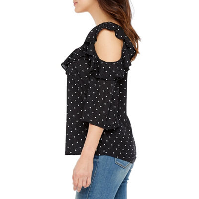 Bold Elements Ruffle Front Cold Shoulder Top