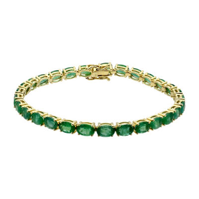 Womens Genuine Emerald 14K Gold Tennis Bracelet