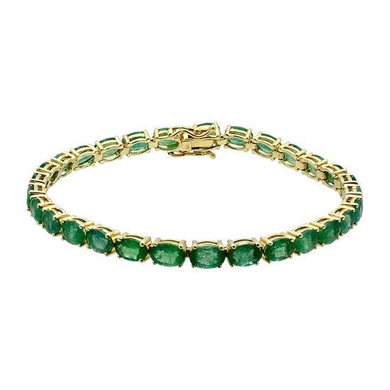 LIMITED QUANTITIES! Womens Genuine Emerald 14K Gold Tennis Bracelet