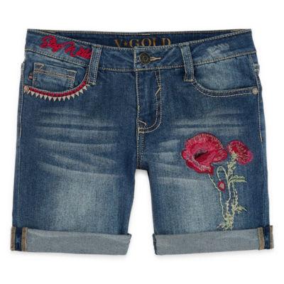 VGold Denim Bermuda Shorts - Big Kid Girls