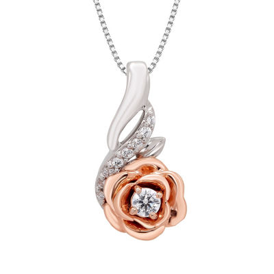 Enchanted Disney Fine Jewelry Womens 1/10 CT. T.W. White Diamond Sterling Silver Gold Over Silver Pendant Necklace