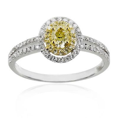 Womens 1 CT. T.W. Yellow & White Diamond 14K Gold Cocktail Ring