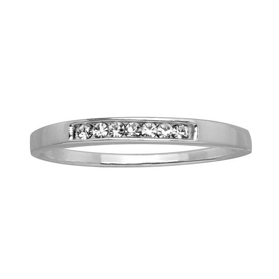 Itsy Bitsy Womens Crystal Sterling Silver Band