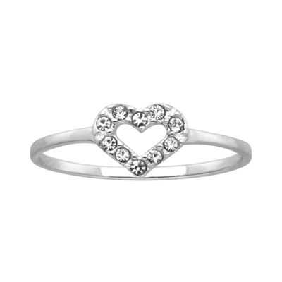 Itsy Bitsy Womens Clear Sterling Silver Heart Delicate Ring