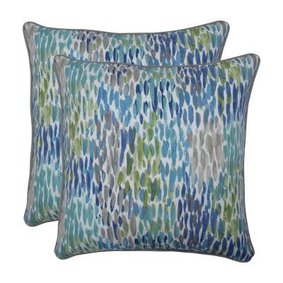Pillow Perfect Make It Rain Cerulean Set of 2 18.5-Inch Outdoor Throw Pillows