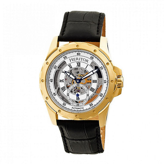 Heritor Armstrong Mens Automatic Black Leather Strap Watch-Herhr3403
