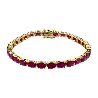 Womens Lead-glass Filled Ruby 14K Gold Tennis Bracelet