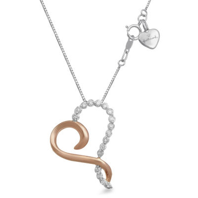 Hallmark Diamonds Womens 1/7 CT. T.W. Genuine White Diamond 14K Rose Gold Over Silver Sterling Silver Heart Pendant Necklace
