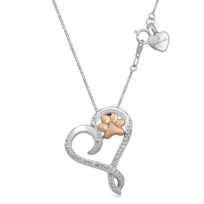 Hallmark Diamonds Womens 1/10 CT. T.W. Genuine White Diamond 14K Gold Over Silver Sterling Silver Pendant Necklace