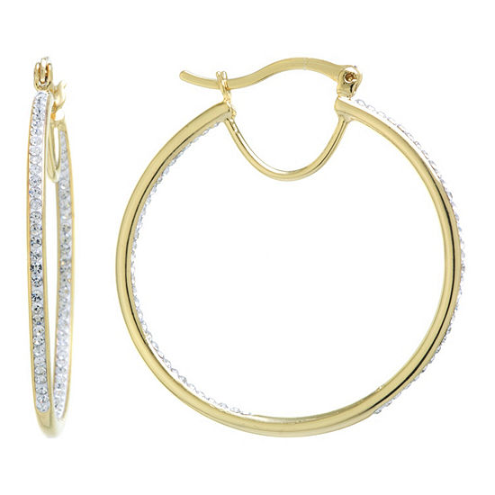 Silver Treasures Pure Silver Over Brass 40mm Hoop Earrings