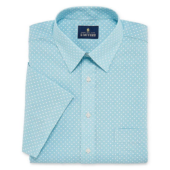 Stafford Travel Easy Care Broadcloth Short Sleeve Short Sleeve Broadcloth Pattern Dress Shirt- Big And Tall