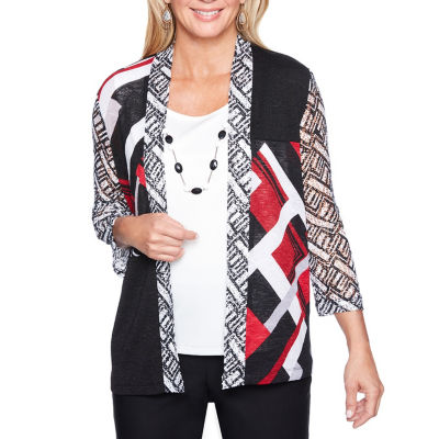 Alfred Dunner Barcelona 3/4 Sleeve Geometric Two for One Blouse-Womens