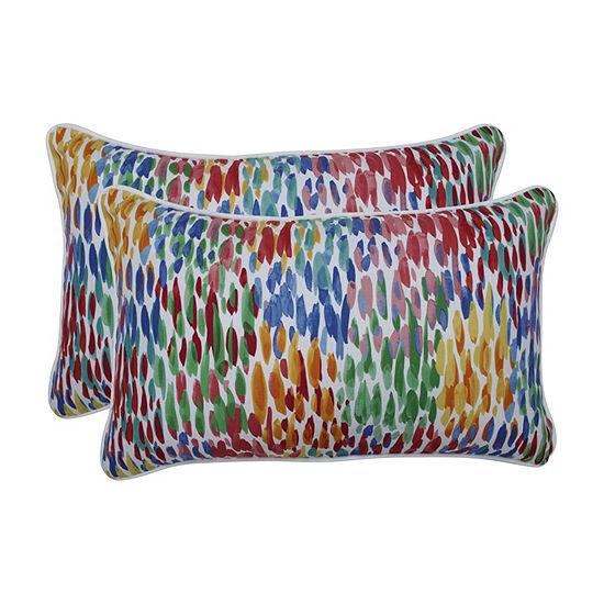 Pillow Perfect Make It Rain Zinnia Set of 2 Rectangular Outdoor Throw Pillows