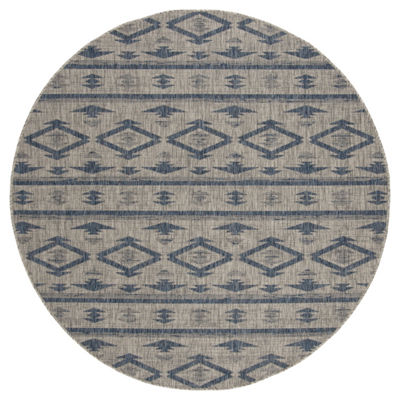 Safavieh Courtyard Collection Easton Geometric Indoor/Outdoor Round Area Rug