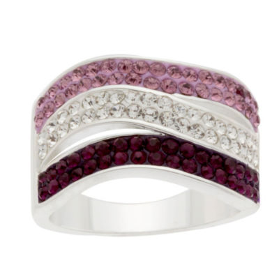 Sparkle Allure Sparkle Allure Plated Crystal Cocktail Ring Womens Multi Color Silver Over Brass Cocktail Ring