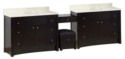 116.45-in. W Floor Mount Distressed Antique WalnutVanity Set For 3H4-in. Drilling Beige Top BiscuitUM Sink