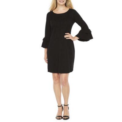 Danny & Nicole 3/4 Sleeve Sweater Dress-Petite